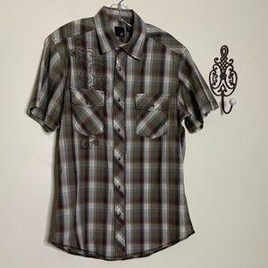 J Ferrar Cotton Western Snap Front S/S Shirt Sz M